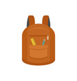 college backpack icon flat style vector image vector image