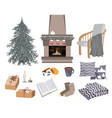 cozy winter set with fireplace chair vector image vector image