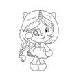 cute baby unicorn with camera coloring page for vector image vector image