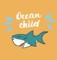 cute shark hand drawn sketch t-shirt print design vector image