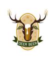 deer beer negative space concept label vector image vector image