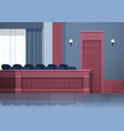 empty jury box seats modern courtroom interior vector image
