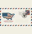 envelope with map america in colors flag vector image vector image