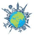 famous world landmarks located around globe vector image vector image