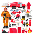 firefighter firefighting equipment firehose vector image