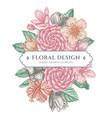 floral bouquet design with pastel hibiscus plum vector image