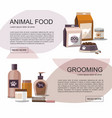food and grooming for pets accessories shop vector image