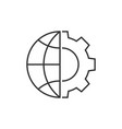 globe and gear outline icon vector image vector image