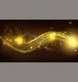 gold sparkle wave on black blurred background vector image