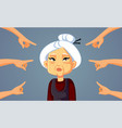 hands pointing to an asian senior woman vector image vector image