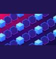 isometric blockchain mining proof of work landing vector image vector image