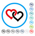 linked hearts rounded icon vector image vector image