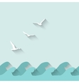 Marine background with waves and birds vector image