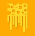 melted cheese on yellow background flat style vector image