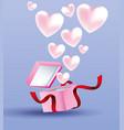 romantic gift box present vector image vector image