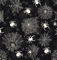 seamless pattern with white spiders on an black vector image vector image