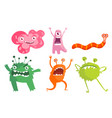 set bacteria microbes cute germs and viruses vector image vector image