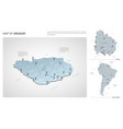 set uruguay country isometric 3d map uruguay vector image vector image