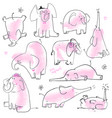 set with cute pink elephants vector image
