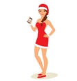 Sexy Girl In Santa Costume with phone in hand vector image