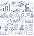 stock market had drawn symbols vector image vector image