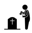 visit grave cemetery stick figure with flowers vector image vector image