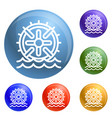 water wheel energy icons set vector image