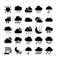 weather glyph icons set 1 vector image