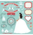 Wedding bridal shower decor setBride invitation vector image