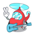 with guitar helicopter mascot cartoon style vector image
