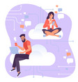 young man and woman characters working with cloud vector image