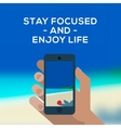 Summertime concept smartphone make picture of vector image