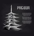 blackboard poster with asian pagoda vector image