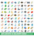 100 logistic delivery icons set isometric style vector image vector image