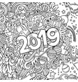 2019 hand drawn doodles contour line vector image vector image
