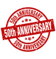 50th anniversary round red grunge stamp