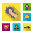 a fantastic superhero flat icons in set collection vector image
