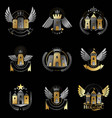 ancient castles emblems set heraldic coat of arms vector image vector image