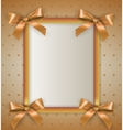 background with bow cream frame vector image vector image