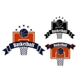 Basketball sporting symbols with sport items vector image vector image