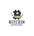 bitcoin accepted emblem crypto currencies label vector image vector image