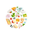 cartoon dairy and cheese products in circle vector image vector image