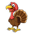 cartoon smiling turkey bird mascot vector image vector image