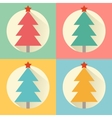 Christmas new year tree flat design icon set vector image