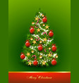 christmas tree decorated with balls and stars vector image