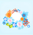 Color round frame with flowers vector image