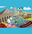 couple honeymoon around italy vector image vector image