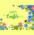 easter spring flowers wreath greeting card vector image vector image