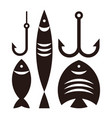 fishing hooks and fishes vector image vector image