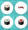 flat icon sashimi set of salmon rolls japanese vector image vector image